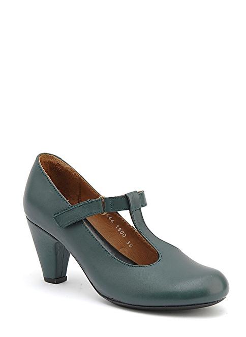 Beta Alçak Topuklu Deri Ayakkabı Yeşil